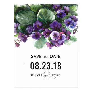 Watercolor viola flower wedding save the date postcard