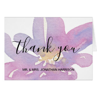Watercolor Violet Lavender Floral Thank You Card