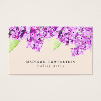 Watercolor Violet Lilac Flowers Business Card
