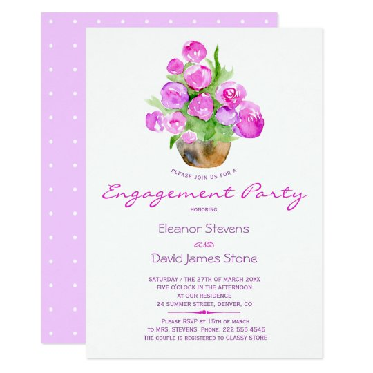 Watercolor violet pink rustic engagement party card