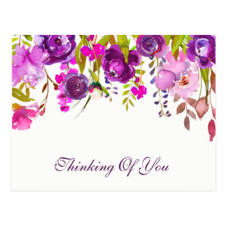 Watercolor Violet & Purple Floral Thinking Of You Postcard