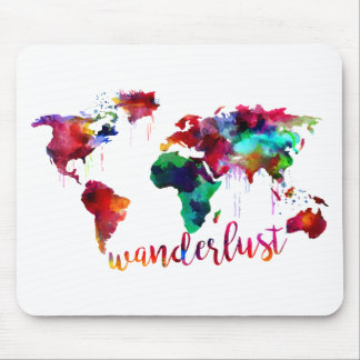 Watercolor Wanderlust World Map Mouse Pad