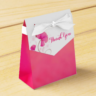 Watercolor wash flower thank you wedding favor box