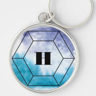 Watercolor Wash Gemstone Monogram Keychain