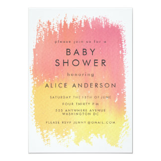 Watercolor Wash Pink Girls Baby Shower Invite
