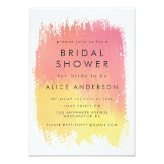 Watercolor Wash Sunset Bridal Shower Invite