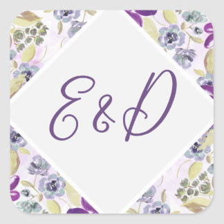 Watercolor Wash Ultra Violet Floral Spring Wedding Square Sticker