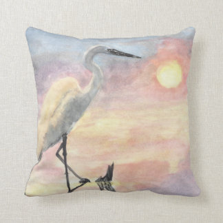 watercolor water crane pillow