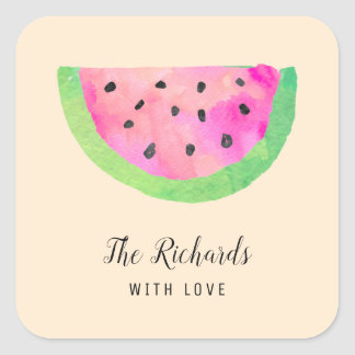 Watercolor Watermelon Square Sticker