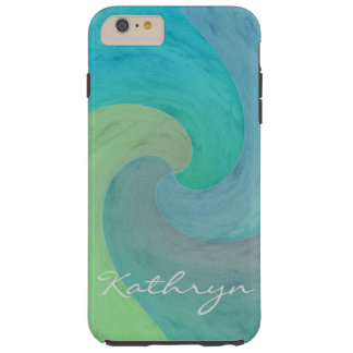 Watercolor Wave Turquoise Green Personalized Art Tough iPhone 6 Plus Case