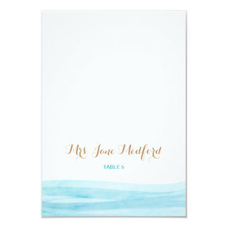 Watercolor Waves Beach Wedding Place Name Card