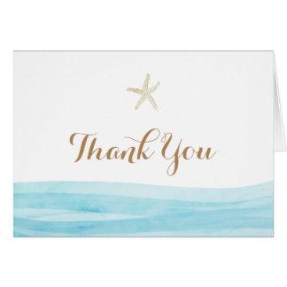 Watercolor Waves Beach Wedding Thank You Card