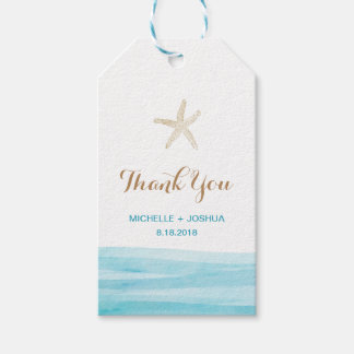 Watercolor Waves Ocean Beach Thank You Tag Pack Of Gift Tags