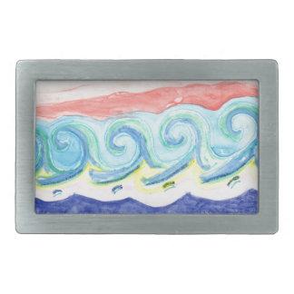 Watercolor Waves Rectangular Belt Buckle