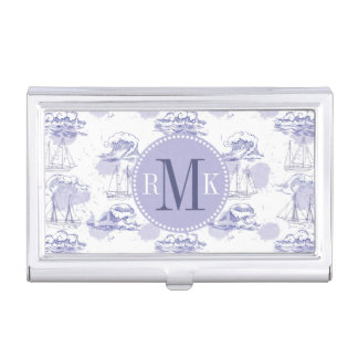 Watercolor Waves & Ships Pattern Business Card Holder