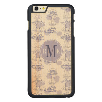 Watercolor Waves & Ships Pattern Carved Maple iPhone 6 Plus Case