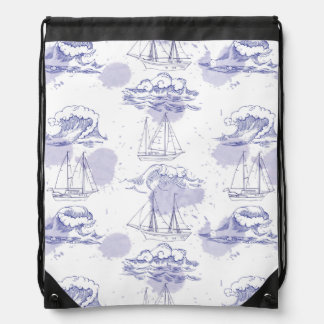 Watercolor Waves & Ships Pattern Drawstring Bag