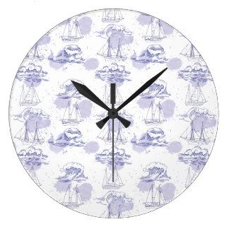 Watercolor Waves & Ships Pattern Large Clock
