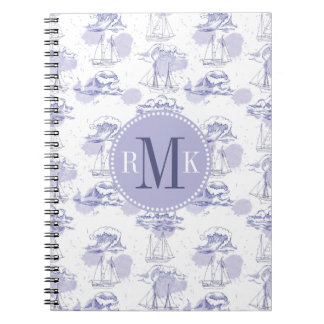Watercolor Waves & Ships Pattern Notebook