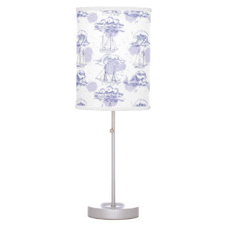 Watercolor Waves & Ships Pattern Table Lamp