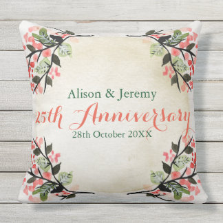 Watercolor Wedding Anniversary Botanical Coral Outdoor Pillow