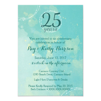 Watercolor Wedding Anniversary Invitation
