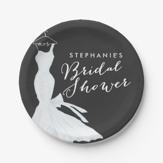 Watercolor Wedding Gown Chalkboard   Bridal Shower 7 Inch Paper Plate
