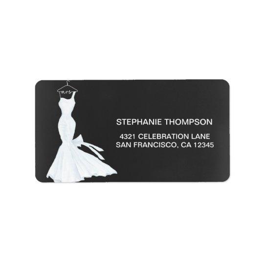 Watercolor Wedding Gown Chalkboard | Bridal Shower Label