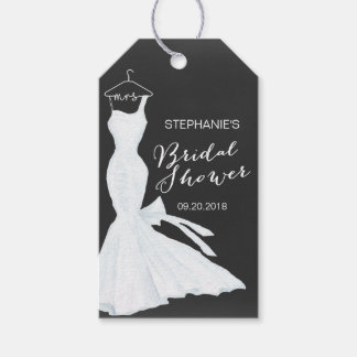 Watercolor Wedding Gown Chalkboard | Bridal Shower Pack Of Gift Tags