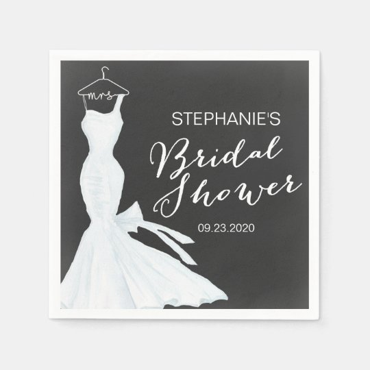 Watercolor Wedding Gown Chalkboard | Bridal Shower Paper Napkins