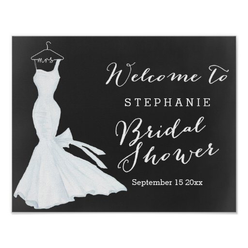 Watercolor Wedding Gown Chalkboard | Bridal Shower Poster