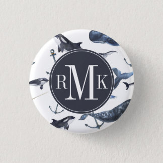 Watercolor Whale & Anchor Pattern 1 Inch Round Button