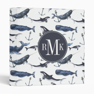 Watercolor Whale & Anchor Pattern 3 Ring Binders