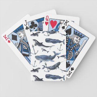 Watercolor Whale & Anchor Pattern Bicycle Playing Cards