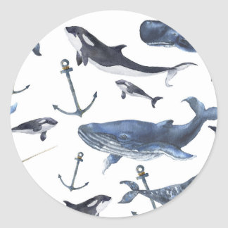 Watercolor Whale & Anchor Pattern Classic Round Sticker