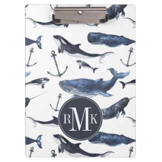Watercolor Whale & Anchor Pattern Clipboard