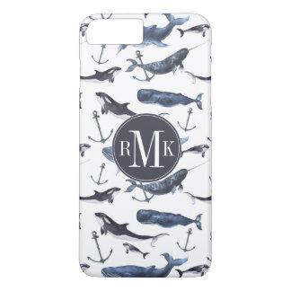 Watercolor Whale & Anchor Pattern iPhone 8 Plus/7 Plus Case