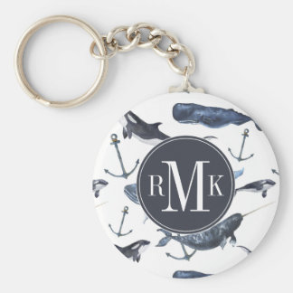 Watercolor Whale & Anchor Pattern Keychain