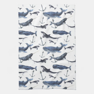 Watercolor Whale & Anchor Pattern Kitchen Towel