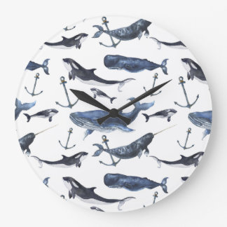 Watercolor Whale & Anchor Pattern Large Clock