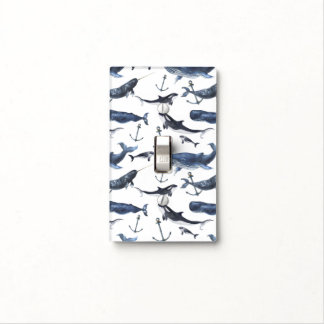Watercolor Whale & Anchor Pattern Light Switch Cover