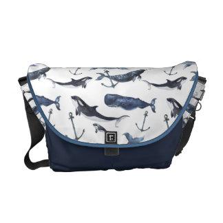 Watercolor Whale & Anchor Pattern Messenger Bag