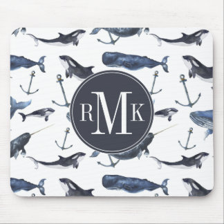 Watercolor Whale & Anchor Pattern Mouse Pad
