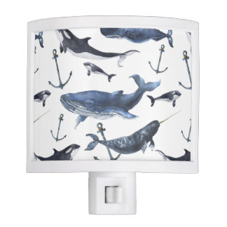 Watercolor Whale & Anchor Pattern Night Lights