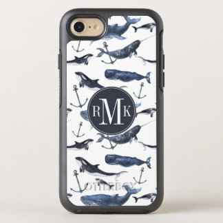 Watercolor Whale & Anchor Pattern OtterBox Symmetry iPhone 8/7 Case