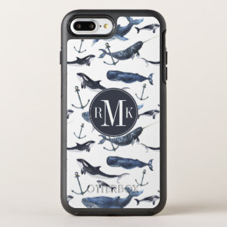 Watercolor Whale & Anchor Pattern OtterBox Symmetry iPhone 8 Plus/7 Plus Case