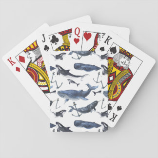 Watercolor Whale & Anchor Pattern Playing Cards