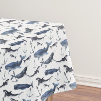Watercolor Whale & Anchor Pattern Tablecloth