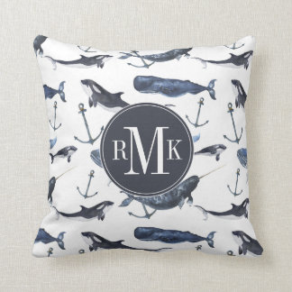 Watercolor Whale & Anchor Pattern Throw Pillow