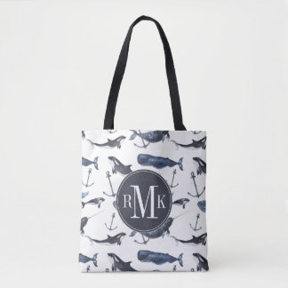 Watercolor Whale & Anchor Pattern Tote Bag